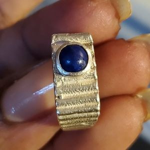 Vintage Sterling Band with Lapis Stone